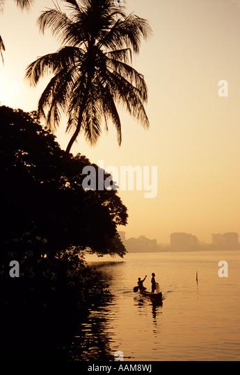 VEMBANAD LAKE KERELA STATE INDIA - Stock Image