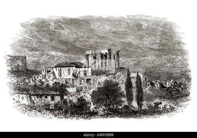 Korinth Greek Kórinthos temple apollo antiquity city-state Isthmus  Peloponnesus Saronic Gulf. prefecture Corinthia. - Stock Image