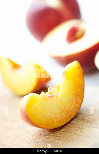 Sliced peach - Stock Image