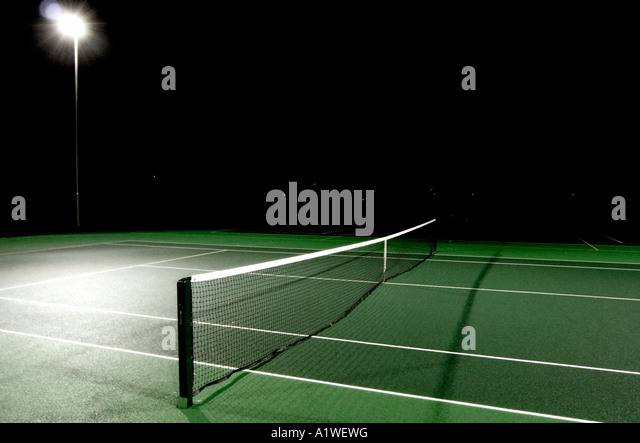 Tennis court by night - Stock Image