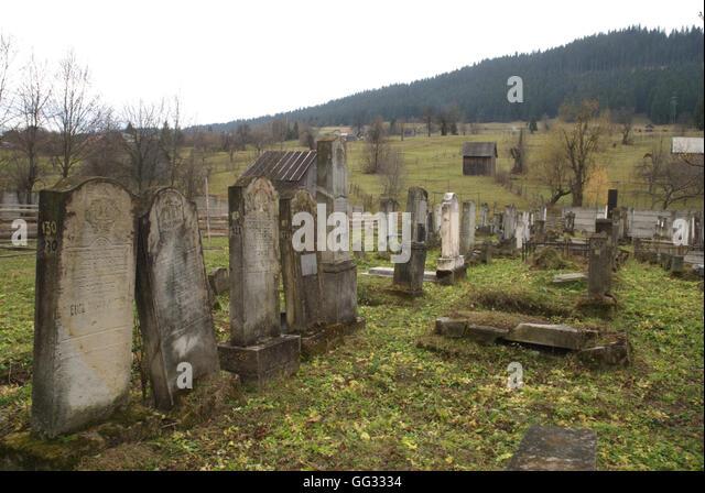 5518. Ancient Jewish cemetery in Compolung Moldavese, Romania - Stock Image