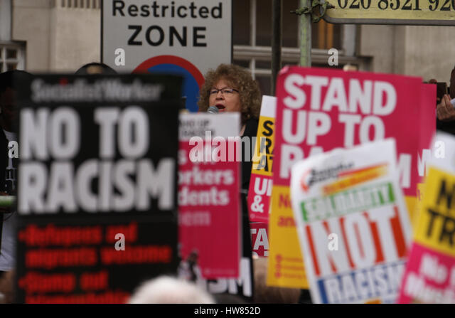 London, UK. March 18, 2017: A speaker addresses demonstrators outside the BBC headquarters at ahead of the March - Stock Image