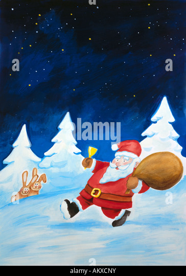 Santa Claus brings gifts, illustration - Stock-Bilder