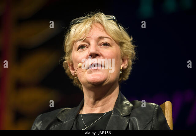 Jo Malone perfumer speaking about her life & career on stage at Hay Festival 2017 Hay-on-Wye Powys Wales UK - Stock Image