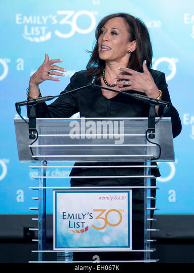 Washington, DC, USA. 03rd Mar, 2015. California Attorney General KAMALA HARRIS speaks at EMILY's List 30th Anniversary - Stock Image