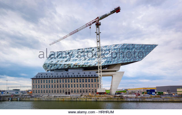 Nearly completed New Harbour House, one of the final projects of architect Zaha Hadid, Antwerp, Flanders, Belgium - Stock-Bilder