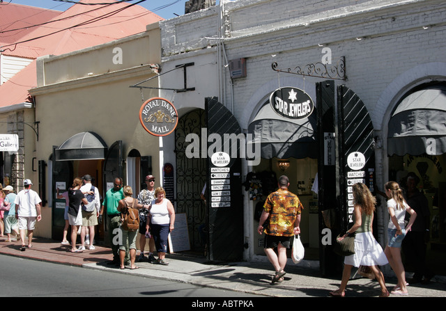 St. Thomas USVI Charlotte Amalie Main Street duty free shopping - Stock Image