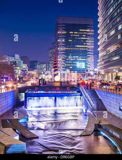 Seoul, South Korea at Cheonggye Stream. - Stock Image