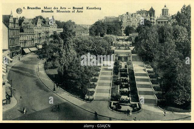 Mont des Arts (Mountain of Arts) - Brussels, Belgium     Date: circa 1940s - Stock-Bilder