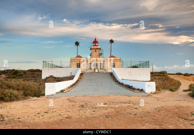 Lagos lighthouse captured at dawn, Portugal. - Stock-Bilder