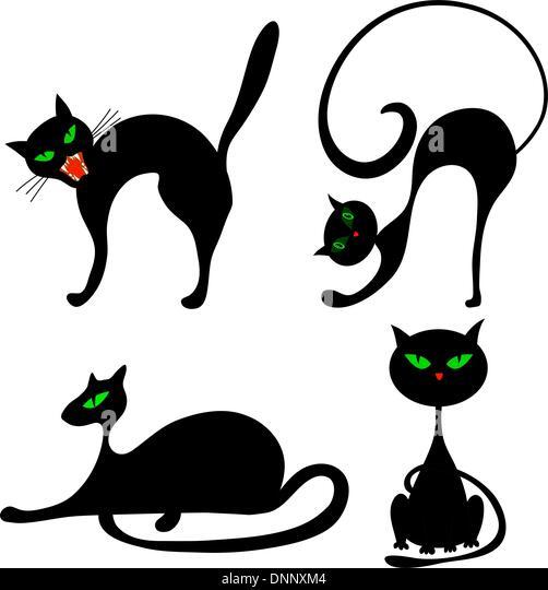 Set of halloween black cat with green eyes. Vector illustration. - Stock-Bilder