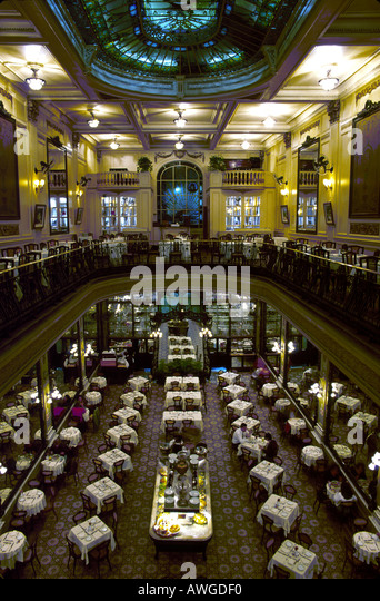 Brazil South America Rio De Janeiro Colombo Coffee House built 1884 Belle Epoch interior décor - Stock Image