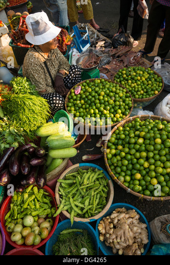 Fresh fruit and vegetables at Food market, Phnom Penh, Cambodia, Indochina, Southeast Asia, Asia - Stock Image