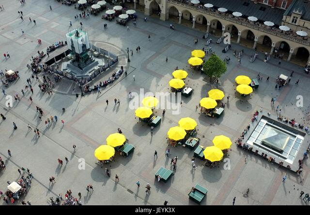 View from the top of St Mary's Basilica, Main Market Square (Rynek Główny), Old Town, Krakow, Poland, Central/Eastern - Stock Image