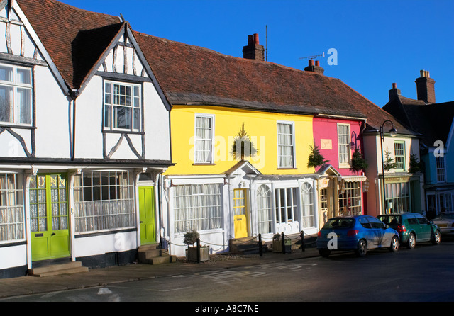 Colourful Theater Street Houses Market Hill Woodbridge Suffolk England - Stock Image