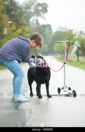 Girl stroking dog tied to push scooter - Stock Image