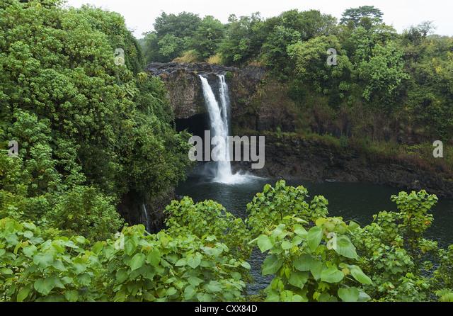 Elk284-2153 Hawaii, Big Island, Hilo, Rainbow Falls - Stock Image