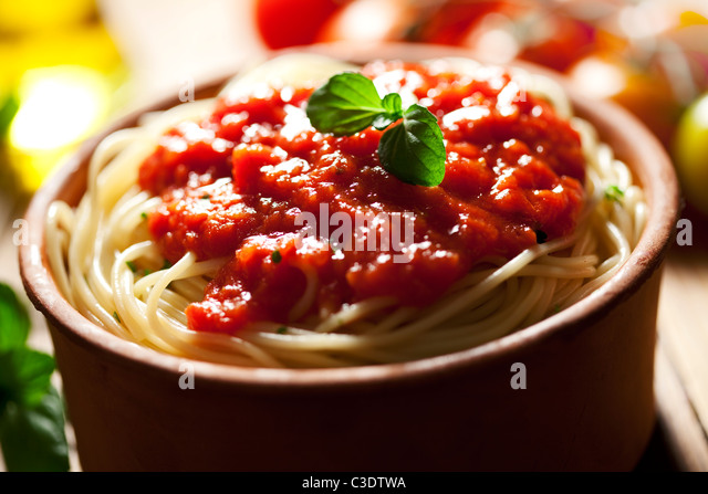 spaghetti and tomato sauce - Stock Image