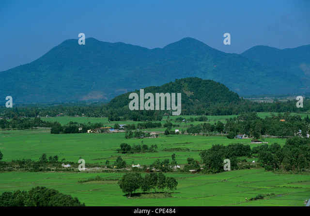 View over rice fields from Rich Pass, near Hue, North Central Coast, Vietnam, Indochina, Southeast Asia, Asia - Stock Image