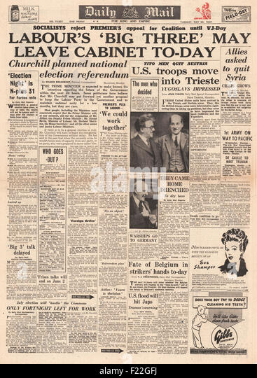 1945 Daily Mail front page reporting General Election Announced - Stock Image