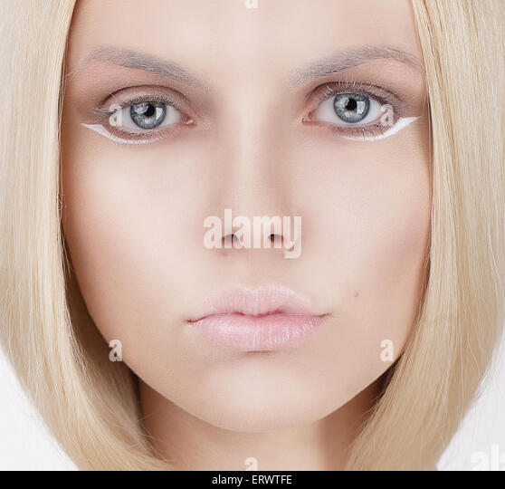Closeup Portrait of Young Blond Woman - Stock Image