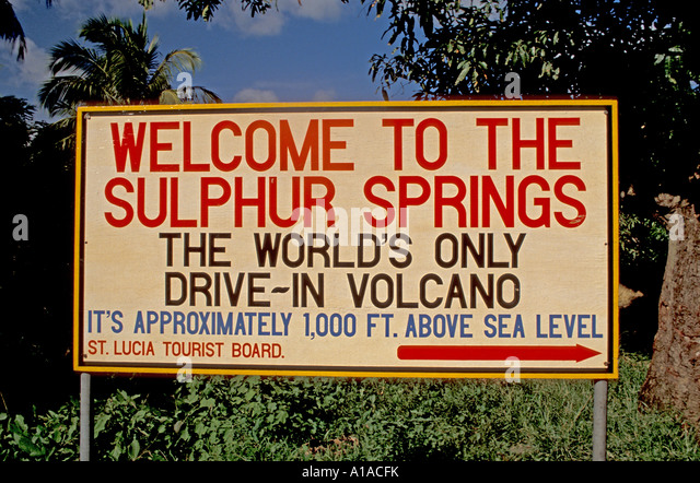 St Lucia Sulphur Springs welcome sign - Stock Image