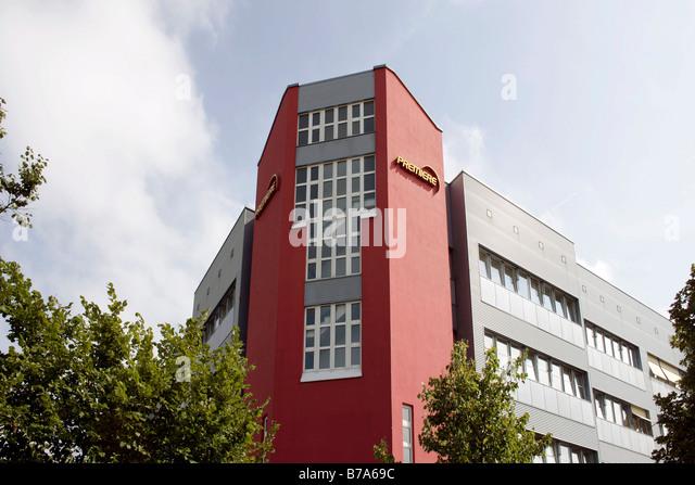 Premiere World Company Headquarters in Medienallee Street in Unterfoehring near Munich, Bavaria, Germany, Europe - Stock Image