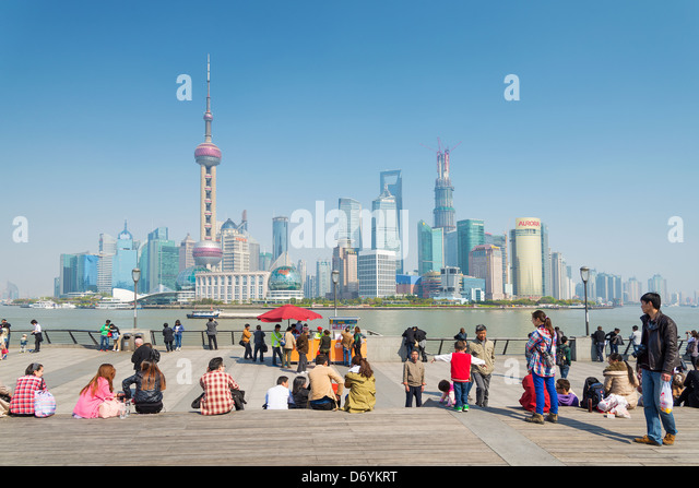 view of pudong skyline in shanghai china - Stock Image