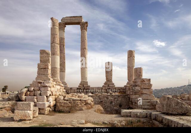 Temple of Hercules, Jabal el Qala, Amman Citadel, ruins, columns, Amman, Jordan - Stock Image