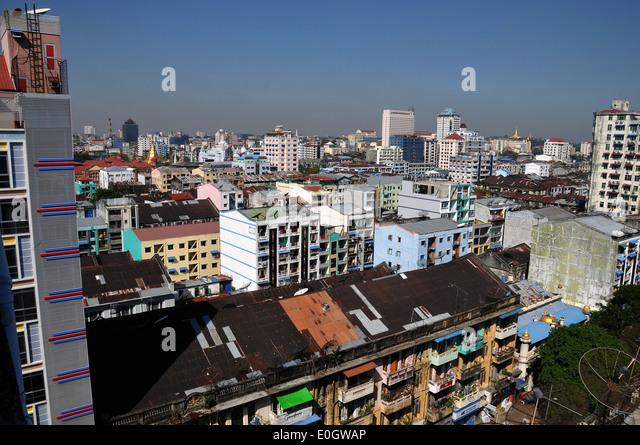 Highrises near the New Aye Yar hotel and the oldtown, Yangon, Myanmar, Burma, Asia - Stock Image