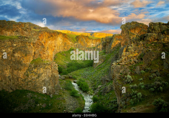 Succor Creek canyon with sunset clouds. Malheur County, Oregon - Stock Image