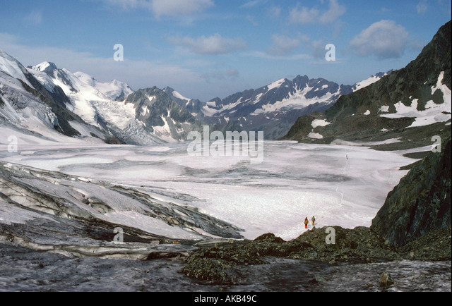 On the Taschach glacier, Ötztal Alps, Austria - Stock Image