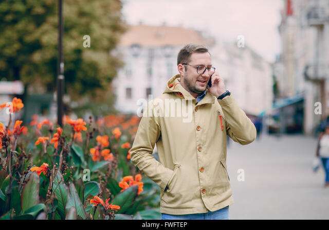 man with phone - Stock Image