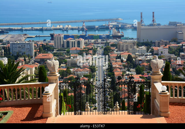Haifa port, view from the  Bahai Gardens, Israel - Stock Image