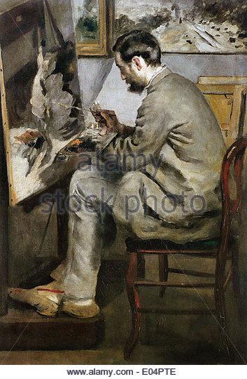 Pierre-Auguste Renoir Frédéric Bazille Painting at His Easel - Stock-Bilder