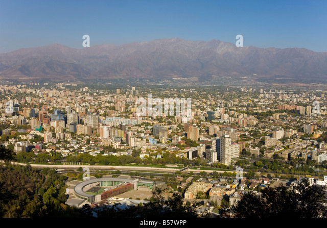 Aerial view of Santiago, Chile, South America - Stock Image
