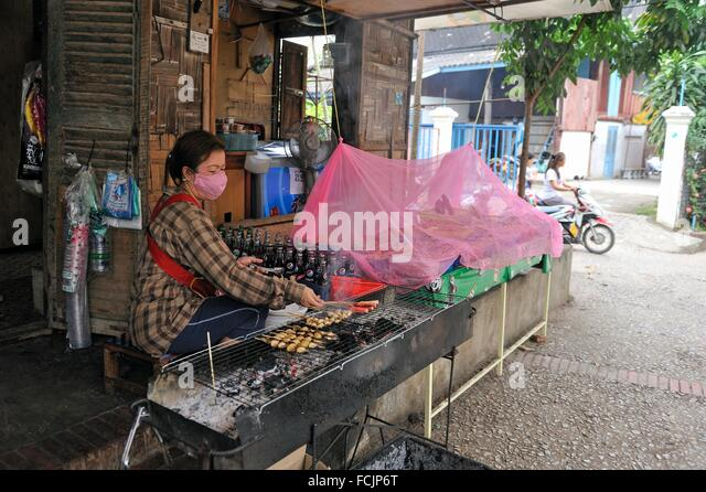 brochettes in a cheap restaurant, Luang Prabang, Laos, Southeast Asia. - Stock Image
