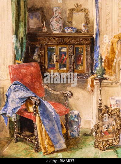 Interior of a Studio, by John Frederick Lewis. England, 19th century - Stock Image