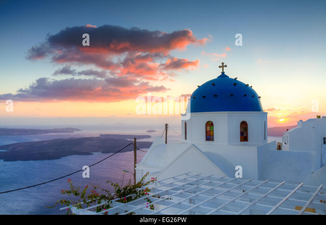 Sunset over Imerovigli, Santorini, Cyclades, Greece - Stock Image