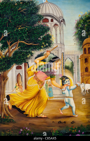 Indian oil painting on canvas of Baby Krishna and Gopi - Stock Image