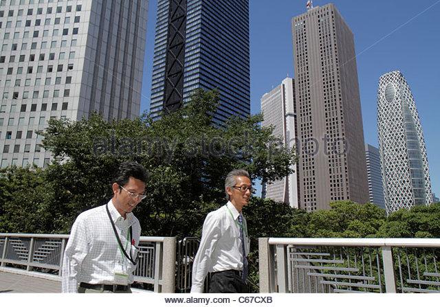 Japan Tokyo Shinjuku Mode Gakuen Cocoon Tower Shinjuku Center Building Mitsui Building Sompo Japan Building skyscrapers - Stock Image