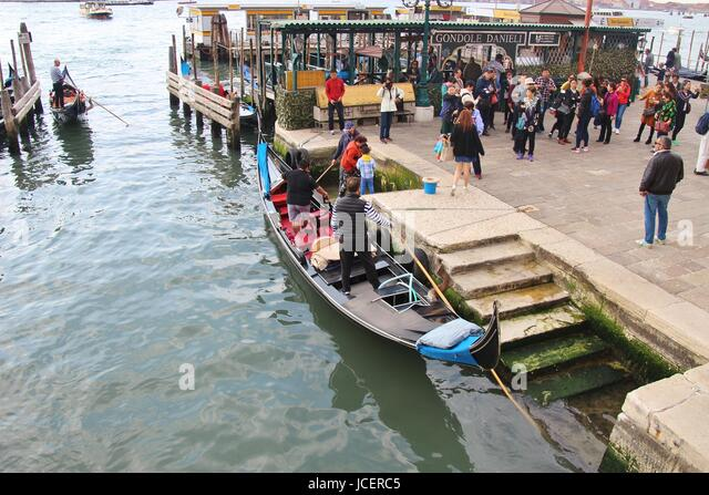 Vaporetto station and gondola on Piazza San Marco, San Marco canal, in Venice. Italy, Europe. - Stock-Bilder