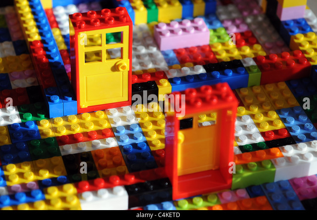 Lego toy building bricks with Doors and couple,Building blocks,couple,couples,colour,construction,manual dexterity - Stock Image
