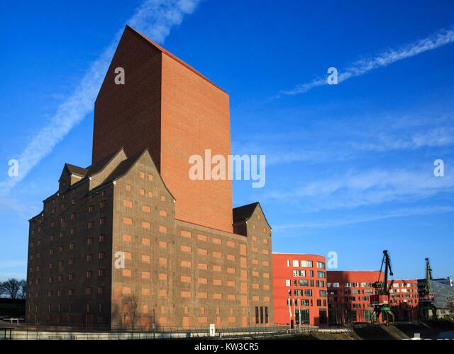 Exterior view of Landesarchiv NRW mit Magazinturm tower in Duisburg, Ruhr Area, North Rhine Westphalia, Germany. - Stock Image