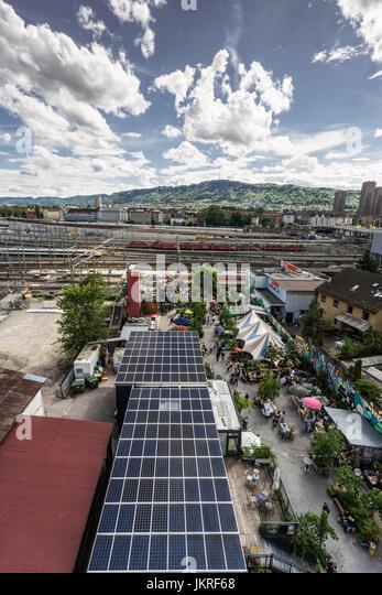 Open air Bar, Frau Gerolds Garten, solar panels,  Kreis 5, Zurich, Switzerland - Stock Image