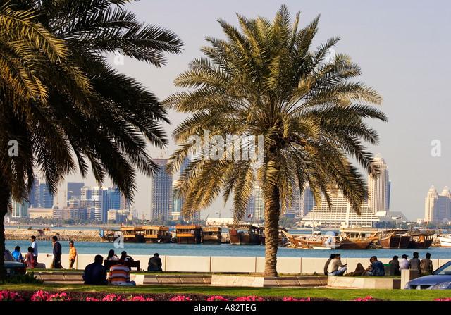 Qatar Doha bay skyline promenade - Stock Image