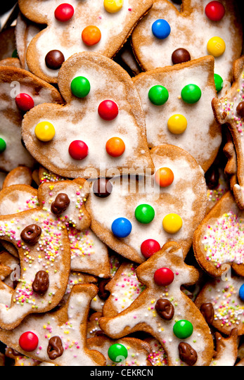hand made colourful cookies - heart-shaped - Stock Image