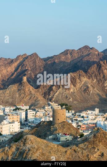 Sultanate of Oman, gouvernorate of Mascate, Muscat (or Mascate), Mutrah (or Matrah) harbour at the foot of the Mount - Stock Image