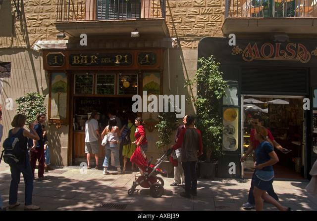 spain Barcelona Bar del Pi Placa de Sant Josep Oriol - Stock Image