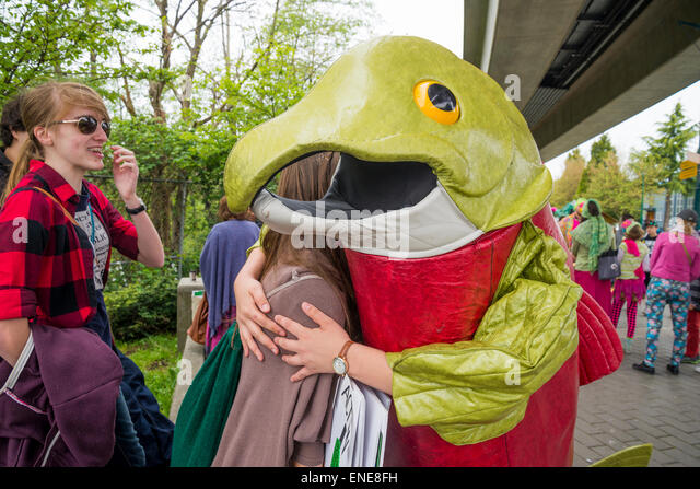 Earth Day salmon hug. - Stock Image